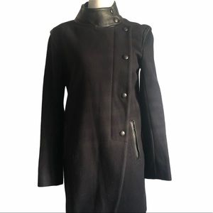 Sandro Black Wool Coat With Leather Trim